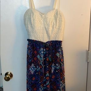 Red, white, and blue designed maxi dress